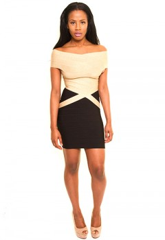 Gold and Black Bandage dress